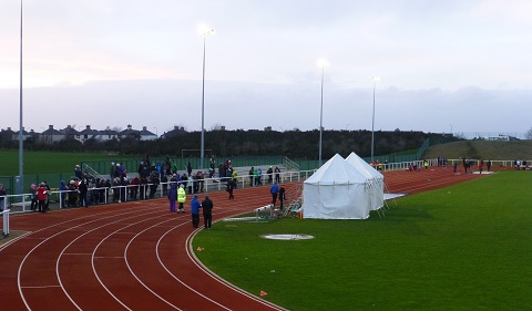 Waiting for the 90 metres cross-ties at the East Lothian Arena